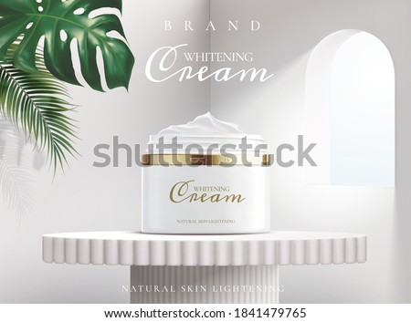 Whitening cream in package on a white stand with light coming in through a window and tropical plants , 3d illustration for cosmetic ads.