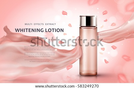 Whitening lotion ads, floral lotion cosmetic bottle with petals and silk texture in pink background, 3d illustration