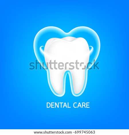 Whitening of human tooth. Deep cleaning, dental care concept. Icon design, Illustration on blue background.