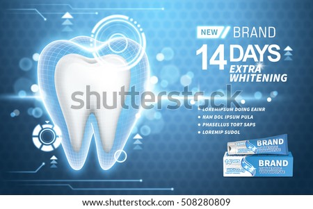 whitening toothpaste ad, on turquoise background, 3d illustration