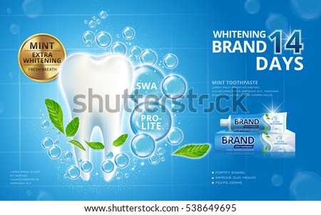 Whitening toothpaste ads, sparkling white tooth with mint leaves and bubbles isolated on blue background in 3d illustration