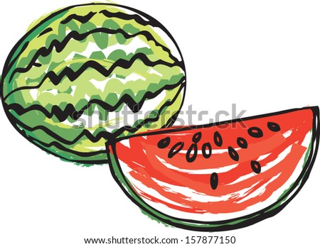 Whole and sliced Watermelon vector illustration