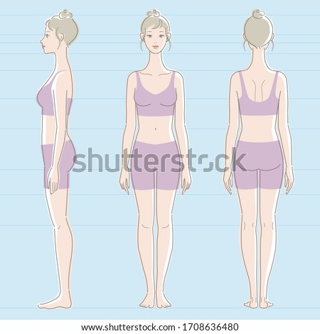 Whole body of white skinned female. Front, side, and back.  Vector illustration. Stock photo ©