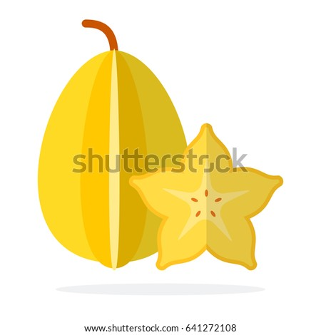 Whole carambola and carambola in section vector flat material design isolated on white Сток-фото ©