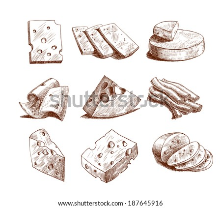 Whole cheese blocks and slices assortment doodle food icons set vector illustration