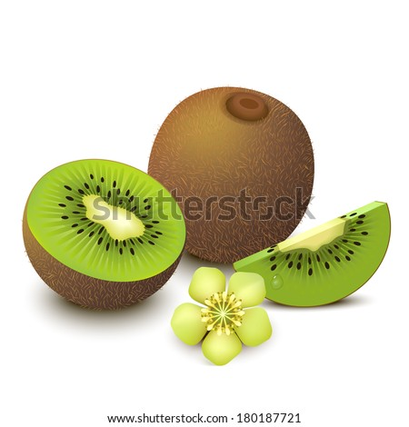 whole kiwi fruit and his sliced