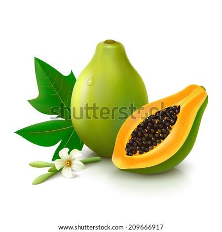 whole papaya with slice  flower