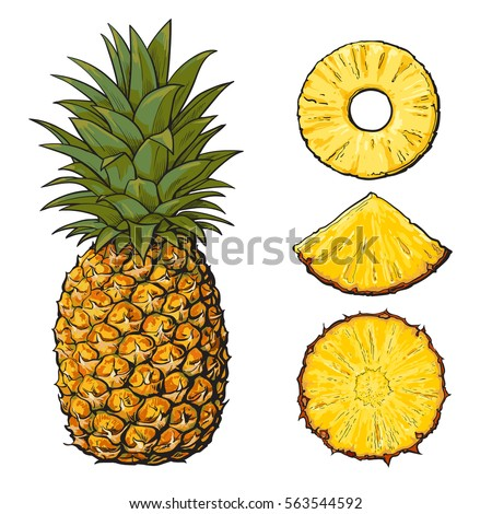whole pineapple and three types