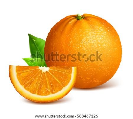 whole ripe oranges and slices