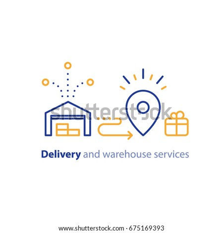 Wholesale warehouse distribution center concept, delivery chain solution and transportation services logo elements, shipping multiple order line icon, combined parcel outline vector