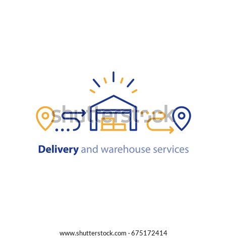 Wholesale warehouse distribution center concept, delivery supply chain solution and transportation services logo elements, shipping order line icon, tracking location outline vector