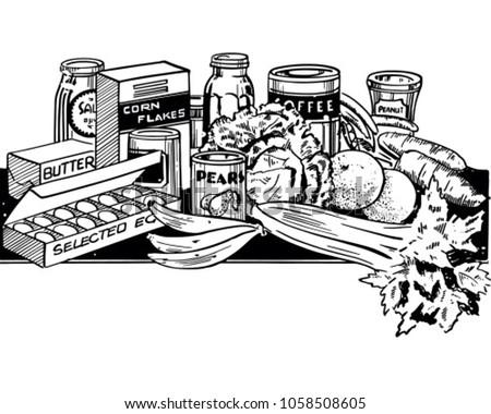 Wholesome Foods - Retro Clip Art Illustration
