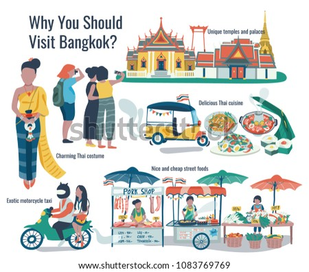 Why should visit Bangkok  doodle infographic with temple, palace, tuk tuk, thai cuisine, street food, and thai costume, all on white background, illustration, vector