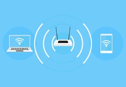 Wi-Fi access point, laptop and phone connection to Wi-Fi point, icons for web design and mobile applications. Vector illustration.