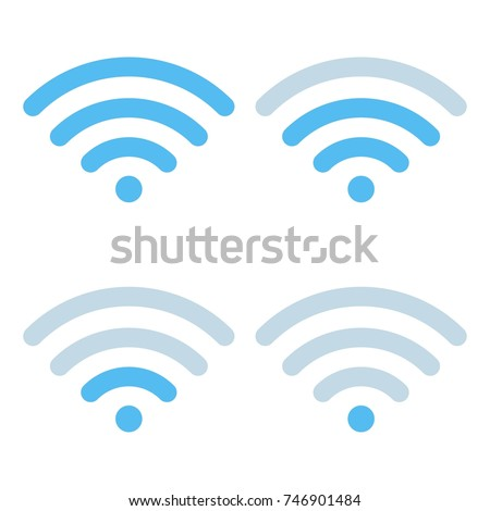 Wi-Fi different signal levels. Wireless signal strength indicator icon. Sign for remote internet access. Vector illustration