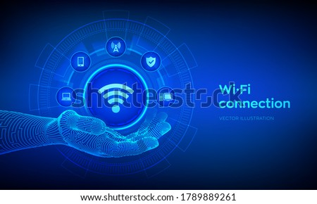 wi fi icon in robotic hand
