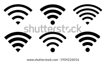 Wi-Fi Icon set symbol. Wireless and wifi icon or wi-fi icon sign for remote internet access. Network wifi business concept. Vector illustration. Сток-фото ©