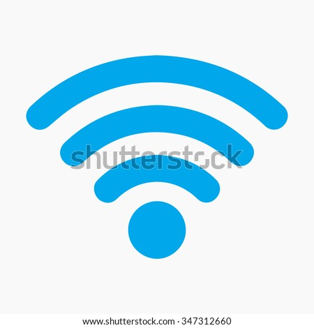 Wi-Fi network icon. Blue Vector Logo. Illustration. Isolated vector Illustration. Blue on Gray background. EPS Illustration. Grey background.