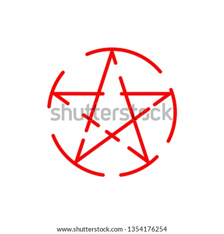 Wicca Pentagram sign icon.