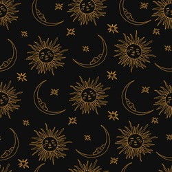 Wiccan seamless pattern with magic symbols: sun and moon. Witchcraft vector illustration in hand drawn style. Perfect for textile, magic shops, fortune tellers, tarot readers