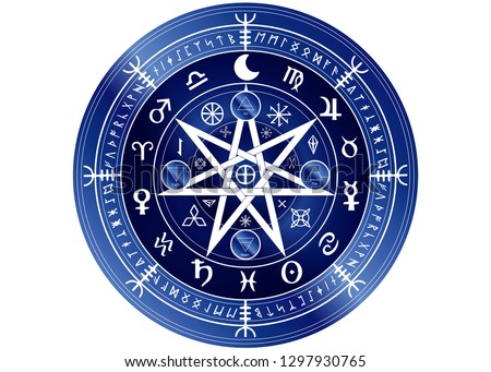 Wiccan symbol of protection. Blue Mandala Witches runes and alphabet, Mystic Wicca divination. Ancient occult symbols, Earth Zodiac Wheel of the Year Wicca Astrological signs, vector isolated or white #1297930765