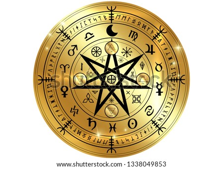 Wiccan symbol of protection. Gold Mandala Witches runes, Mystic Wicca divination. Ancient occult symbols, Earth Zodiac Wheel of the Year Wicca Astrological signs, vector isolated or white background