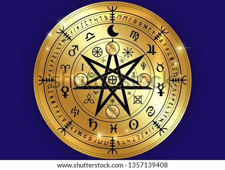 Wiccan symbol of protection. Gold Mandala Witches runes, Mystic Wicca divination. Ancient occult symbols, Earth Zodiac Wheel of the Year Wicca Astrological signs, vector isolated or blue background #1357139408