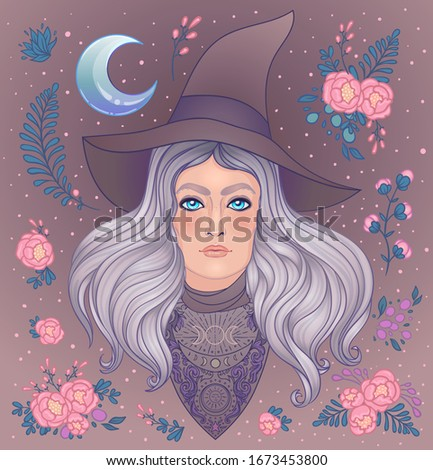 wiccan witch with moon  herbs