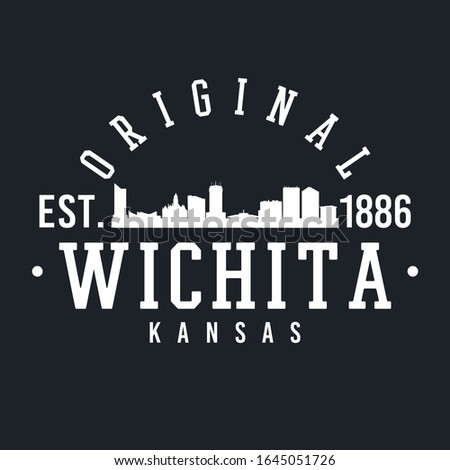 Wichita Kansas Skyline Original. A Logotype Sports College and University Style. Illustration Design Vector.