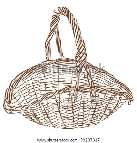 Wicker basket. It is  the basis for Easter compositions, for floral compositions, for the harvest,  for picnic etc.