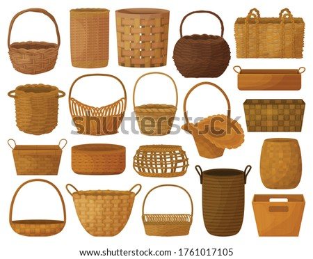 Wicker basket vector cartoon set icon. Vector illustration wooden accessory on white background. Isolated cartoon set icon wicker basket.