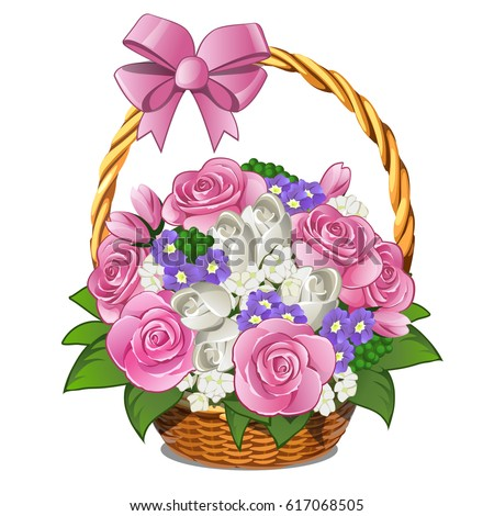wicker basket with pink ribbon