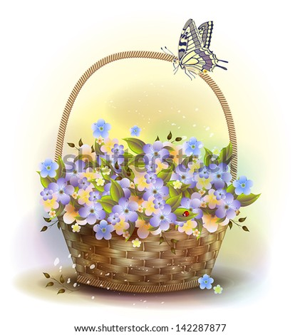 Stock Photo Wicker basket with violets. Victorian style.