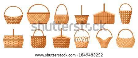 Wicker baskets. Picnic willow baskets, empty straw hampers, decorative wicker baskets with handle. Picnic baskets vector illustration set. Easter holiday various containers for food