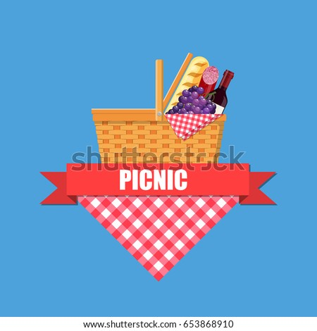 wicker picnic basket with...