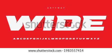 Wide alphabet letter font. Sport logo typography. Extended bold vector typographic design. Sharp angles type for automotive logo, speed headline, title, superhero lettering, branding and merchandise