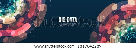 Wide Big data visualization. Abstract background with lines array and binary code. Connection structure. Data array visual concept. Big data connection complex. Сток-фото ©