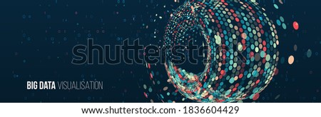 Wide Big data visualization. Machine learning algorithm for information filter and analytic. Abstract background with circle array and binary code. Data array visual concept. Big data complex.