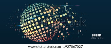 Wide Big data visualization. Machine learning algorithm for information filter and analytic. Abstract background with sphere array and binary code. Data array visual concept. Big data connection.