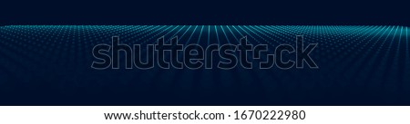 Wide Black Blueprint Background Texture. Perspective Grid with Depth of Field Effect (DoF). Vector for Your Graphic Design.