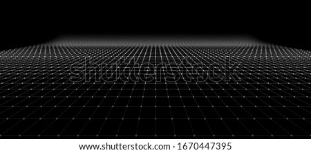 Wide Black Blueprint Background Texture. Perspective Grid with Depth of Field Effect (DoF). Vector for Your Graphic Design. Stock photo ©