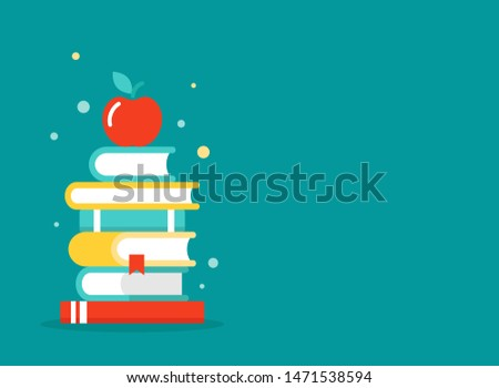 wide blue background with stack