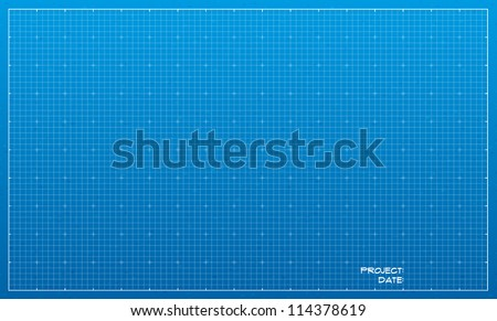 Wide blueprint background texture. Vector illustration.
