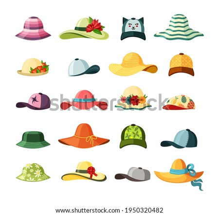 Wide brimmed hats and caps set. Stylish baseball with long visor bright red headdress blue ribbon green elegance accessory with bouquet of lush flowers striped yellow straw. Vector fashion. Foto stock ©