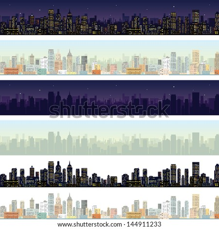 wide cityscape at different