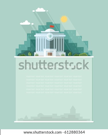 Wide copy space for text. mayoralty architecture public government buildings, Court, white house background of the city. Flat landscape. Vector design