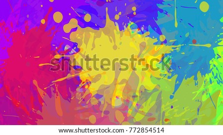 Shutterstock Wide format abstract colorful grunge background. Place for text. Paint splashes. Background for presentation business card. Full HD 4K wallpaper. Vector without gradient, EPS10 with transparency