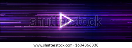Wide Glitch Banner with Glitched Triangle Play Icon. Designs for Banners, Web Pages, Presentations. Vector Illustration.