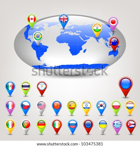 wide globe and pins with flags vector