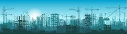 Wide High detailed banner illustration silhouette of buildings under construction in process.